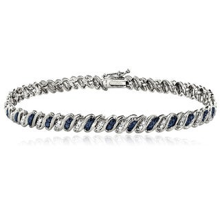 DB Designs Sterling Silver Blue Diamond Accent S Tennis Bracelet