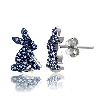 DB Designs Sterling Silver Blue Diamond Accent Rabbit Earrings