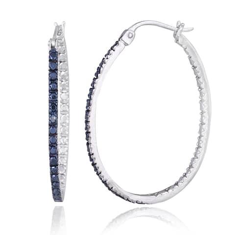 Sterling Silver Blue Diamond Oval Hoop Earrings