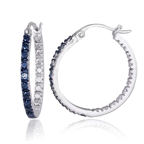 DB Designs Sterling Silver Blue Diamond Accent 20mm Hoop Earrings