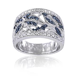 Sterling Silver Blue Diamond Leaf Design Ring