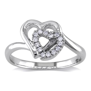 Miadora 14k White Gold 1/10ct TDW Double Heart Promise Ring