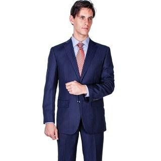 Men's Modern Fit Navy Blue Stripe 2-button Suit