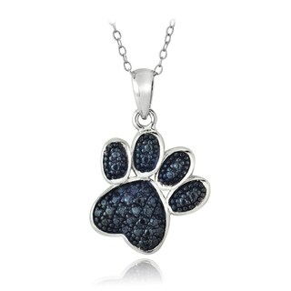 DB Designs Sterling Silver Blue Diamond Accent Paw Print Necklace