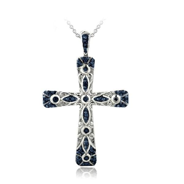 DB Designs Sterling Silver Blue Diamond Accent Filigree Cross Necklace