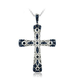 DB Designs Sterling Silver Blue Diamond Accent Filigree Cross Necklace