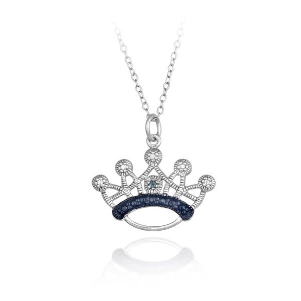 DB Designs Sterling Silver Blue Diamond Accent Crown Necklace