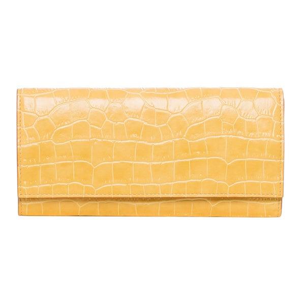 Stella McCartney Yellow Croc-embossed Continental Wallet