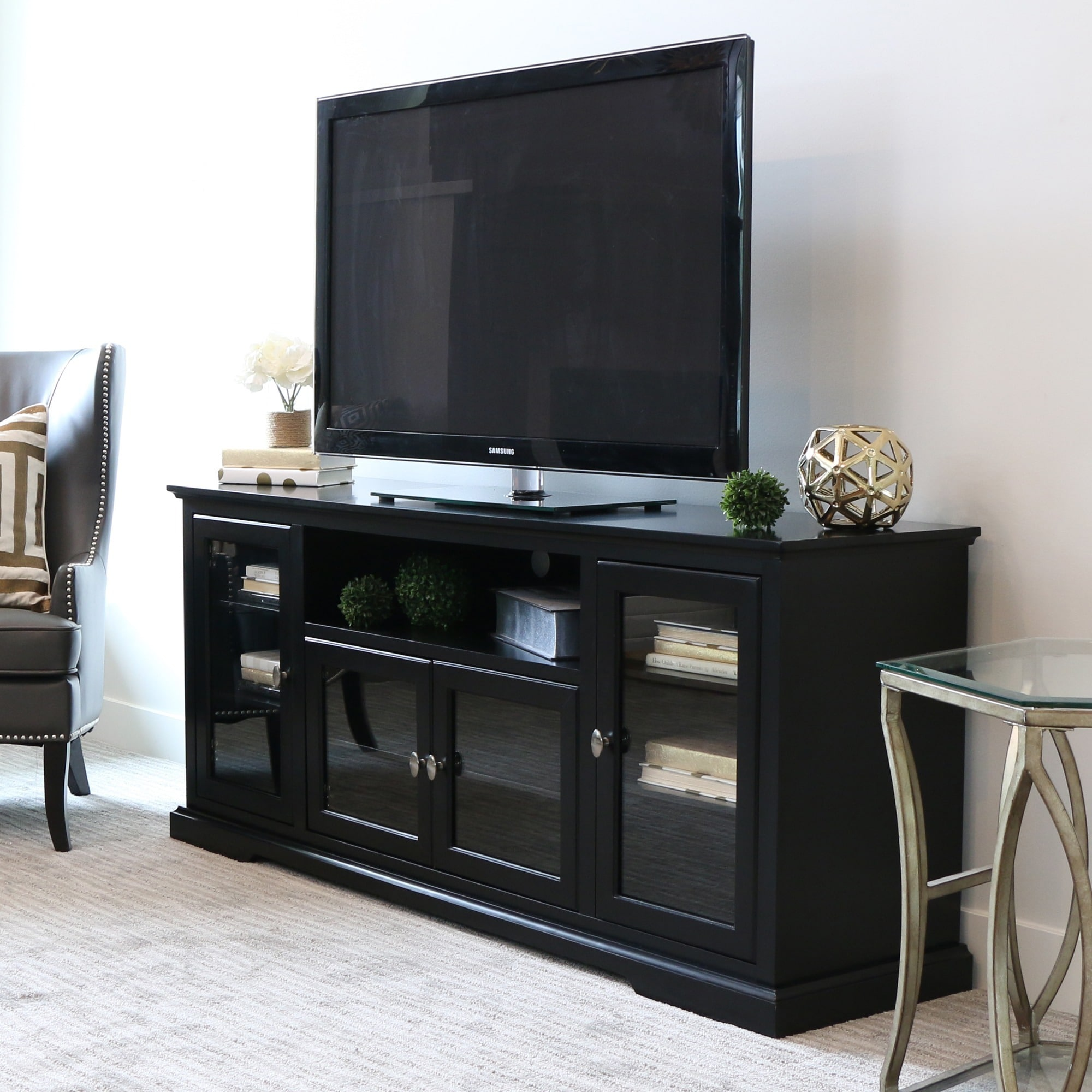 Shop 70 Inch Black Wood Highboy Tv Stand Free Shipping On Orders