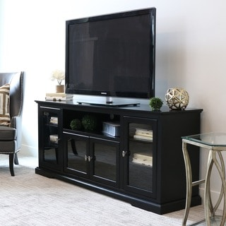 70-inch Black Wood Highboy TV Stand - Thumbnail 0