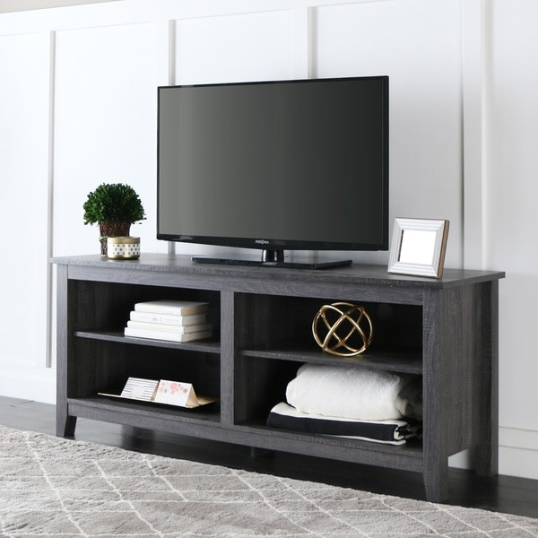 58 Inch Wood Charcoal Grey TV Stand