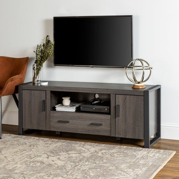 shop 60 urban blend tv stand console charcoal free shipping today overstock 9067315. Black Bedroom Furniture Sets. Home Design Ideas