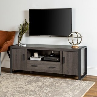 Middlebrook Designs 60-inch Modern TV Stand Console, Charcoal, Urban Entertainment Center