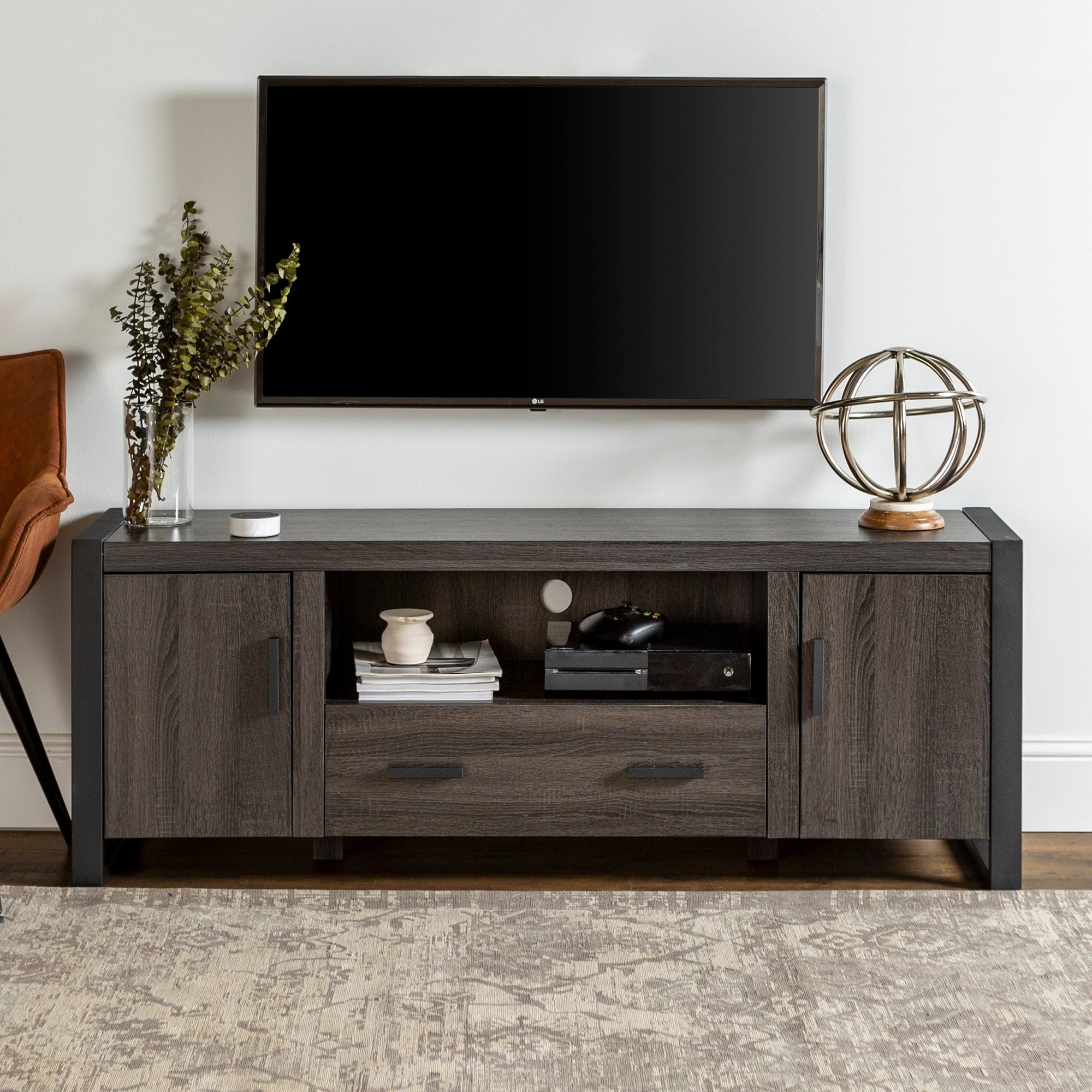 Flat Screen TV Stand 60 Inch Entertainment Center Wood AV Media Cabinet Console