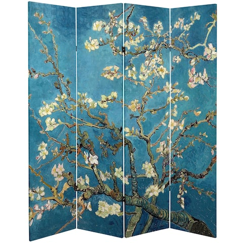 Oriental Furniture Double-sided Works of Van Gogh Almond Blossoms/Wheat Field Canvas Room Divider
