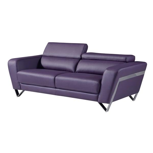 Shop Natalie Purple Bonded Leather Sofa Free Shipping