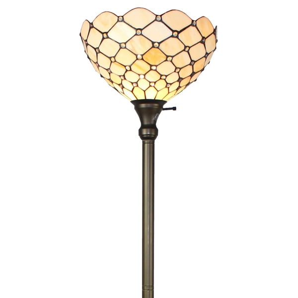 Amora lighting tiffany style ivory jeweled 72 inch floor for Tiffany style floor lamp with side light