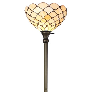Amora Lighting Tiffany-style Ivory Jeweled 72-inch Floor Torchiere Lamp