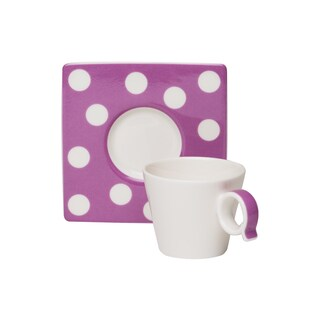 Red Vanilla Freshness Mix & Match Dots Violet Espresso Cup/ Saucer Set (Pack of 6)