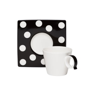 Red Vanilla Freshness Mix & Match Dots Black Espresso Cup/ Saucer Set (Pack of 6)
