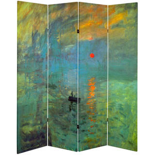 Handmade Works of Monet Impression Sunrise and Houses of Parliament Canvas Room Divider