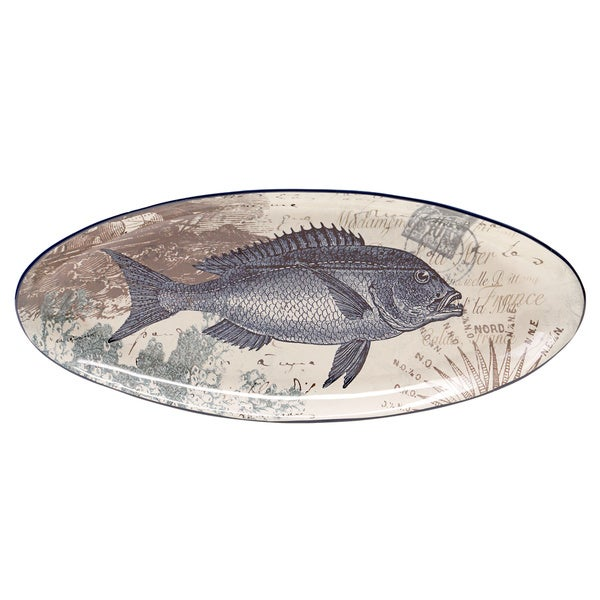 Coastal postcards fish serving platter free shipping on for Fish serving platter