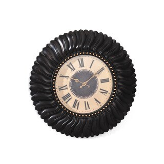 Elements 22-inch Black Feather Wall Clock