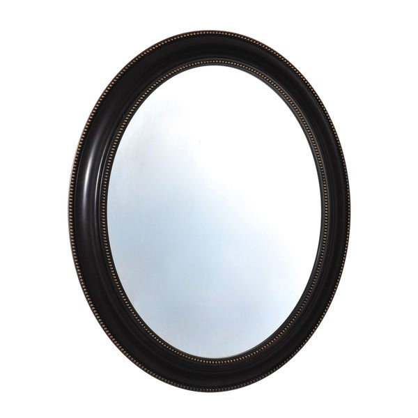Shop Elements 24x39-inch Black Bead Oval Plastic Mirror - Free ...