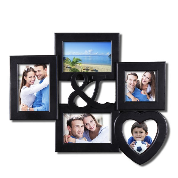 Adeco 5-opening Heart-shaped Black Wall Hanging Collage Picture Frame