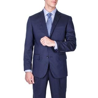 Men's Modern Fit Navy Blue Tonal Striped Wool Suit