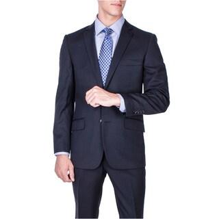 Men's Slim Fit Solid Black Wool 2-button Suit