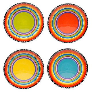 Hand-painted Tequila Sunrise 9-inch Assorted Ceramic Salad/Dessert Plates (Set of 4)