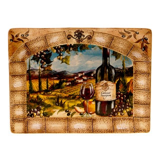 Hand-painted Tuscan View Rectangular Platter