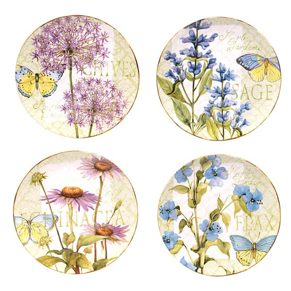 Certified International Herb Garden Assorted Dinner Plates, Set of 4. Opens flyout.
