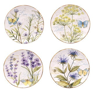 Hand-painted Herb Garden 8.75-inch Assorted Ceramic Salad/Dessert Plates (Set of 4)