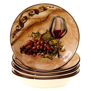 Certified International Hand-painted 4-piece Tuscan View 9.5-inch Soup/Pasta Bowls Set