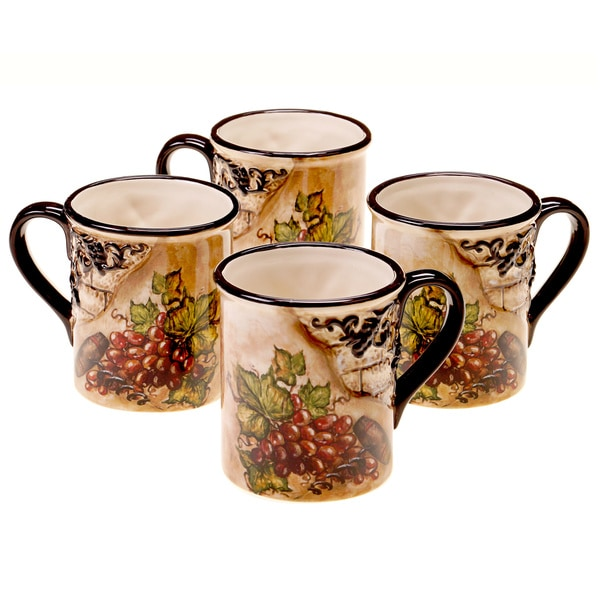 Shop Hand Painted Tuscan View 16 Ounce Mugs Set Of 4