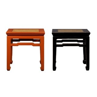 Chinese Style Rattan Top End Table