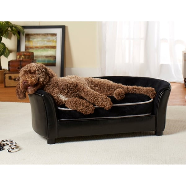 Superbe Enchanted Home Pet Ultra Plush Panache Furniture Pet Sofa Bed   Black