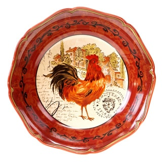 Hand-painted Tuscan Rooster 12.75-inch Ceramic Serving Bowl