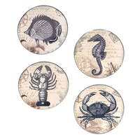 Hand-painted Coastal Postcards 6-inch Assorted Ceramic Canape Plate (Set of 4)
