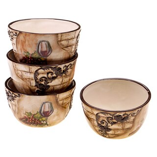 Hand-painted Tuscan View 5.25-inch Ceramic Ice Cream Bowl