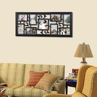 Adeco Decorative Black Plastic Filigree Wall Hanging Collage 6 x 6-inch Photo Frame