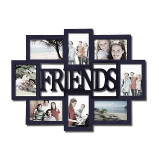 Adeco 'Friends' 8-opening Black Wooden Photo Collage Frame