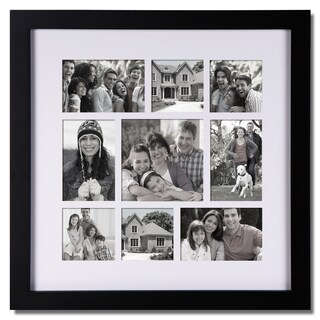 Adeco 9-opening Black Wooden Photo Collage Frame