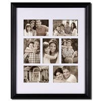 Adeco Black Wood Bulletin Board-style Hanging Poto Frame with Seven 4x6-inch Openings