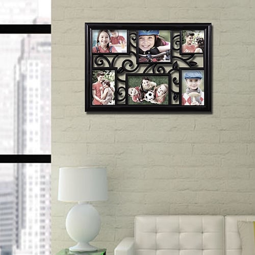 Adeco 6-opening Multi-size Black Hanging Photo Collage Frame - Free ...