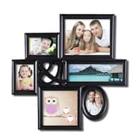 Adeco 6-opening Black Plastic Hanging Photo Collage Frame