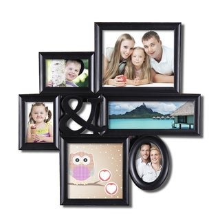 Adeco 6-opening Black Plastic Hanging Photo Collage Frame