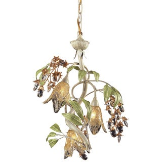 Huraco 3-light Amber Glass and Crystal Floral Chandelier